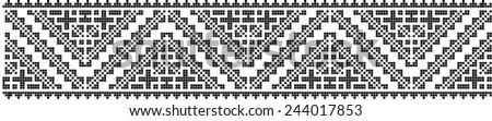romanian traditional ethnic costume motif genuine pattern - stock photo