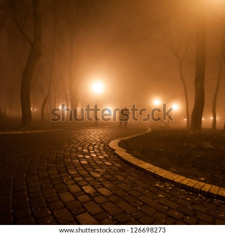 romantic and happiness scene of couples foggy evening in the park - stock photo