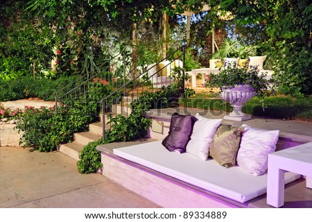 Romantic atmosphere in the evening on the patio at the wedding - stock photo