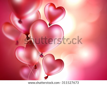romantic background with pink balloons in the shape of heart - stock photo