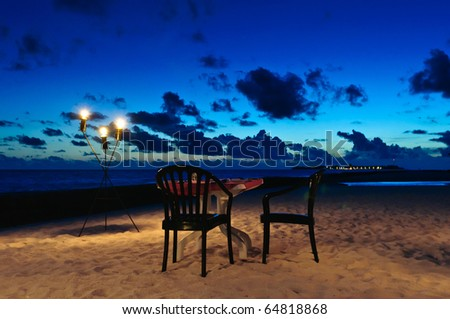 Romantic Beach Dinner - stock photo