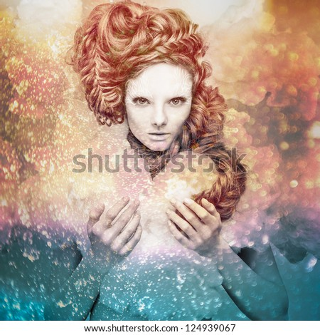 Romantic beauty with magnificent hair wandering in clouds. Digital painted multicolored pop art portrait. - stock photo