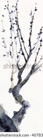 Romantic black ink brush hand drawn monochrome watercolour paint effect design backdrop in oriental style on cardboard. Closeup view with space for text on grey sky. New sprouts on aged curve seedling - stock photo