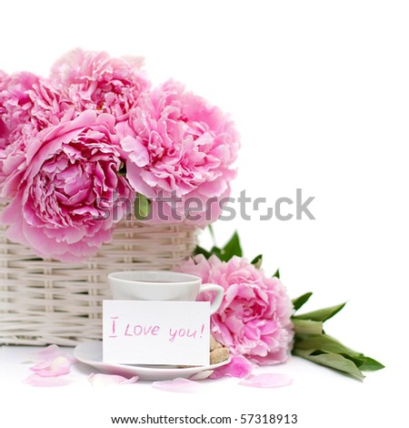 Romantic breakfast, flower and a blank poster card with a note of love. Focus on paper - stock photo