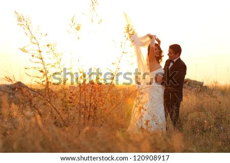 romantic bride and groom - stock photo
