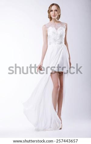 Romantic Bride in Festive Bridal Dress - stock photo