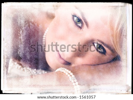 romantic bride lying on a bed with vintage finish - stock photo
