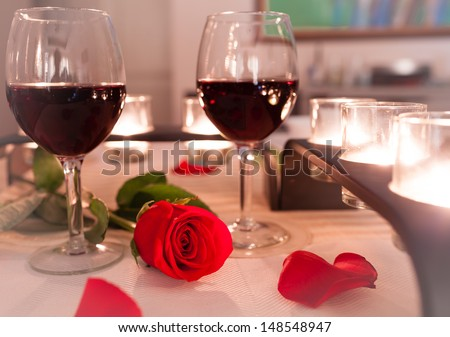 Romantic Candlelight Dinner - stock photo