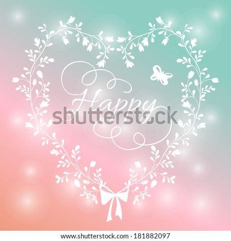 romantic card with heart of wildflowers. bright floral background in retro style with a bow on a stylish background bokeh - stock photo