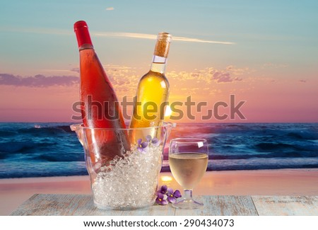 romantic celebration at sunset on the beach - stock photo