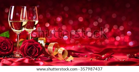 Romantic Celebration Of Valentine's Day, With Wine And Roses  - stock photo