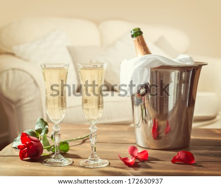 Romantic champagne for two on Valentines Day - stock photo