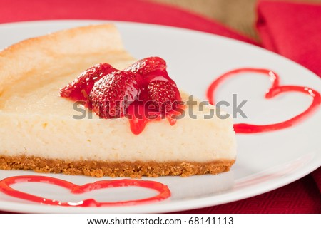 Romantic cheesecake dessert with strawberries for valentines day - stock photo