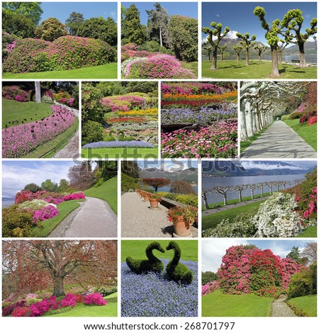 romantic, colorful flowering garden in spring time - images from fantastic parks on lake Como, Lombardy, Italy, Europe - stock photo