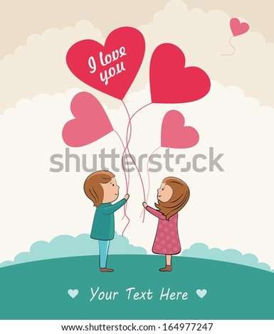 Romantic concept. Couple in love with the balloons.  - stock photo