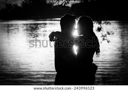 Romantic couple Black and White - stock photo