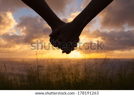 Romantic couple holding hands and watching a beautiful sunset - stock photo
