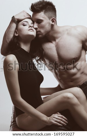 romantic couple in intimacy relations having fun .Fashion colors. - stock photo