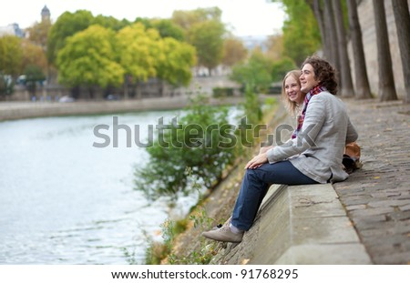 Romantic couple in Paris, having a date - stock photo