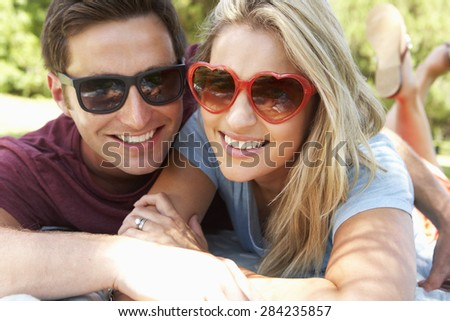 Romantic Couple In Park Together - stock photo