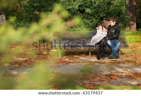 Romantic couple in the Luxembourg garden at fall. Paris, France - stock photo