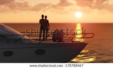 romantic couple on a pleasure boat - stock photo