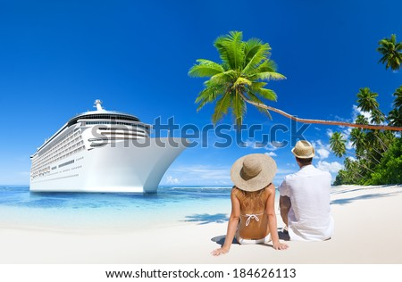 Romantic Couple Sitting by a Cruise Ship - stock photo