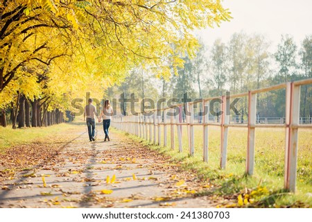 Romantic couple wearing jeans walking in autumn park, having a date at fall. Back view. - stock photo