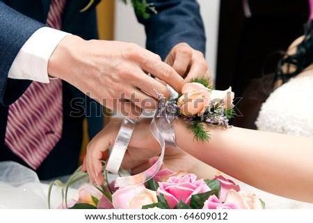 Romantic couples at wedding - stock photo