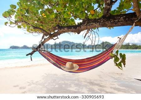 Romantic cozy hammock in the shadow of a tree on the tropical beach by the sea - stock photo