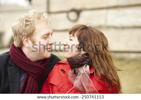 Romantic dating couple in Paris, outdoors - stock photo
