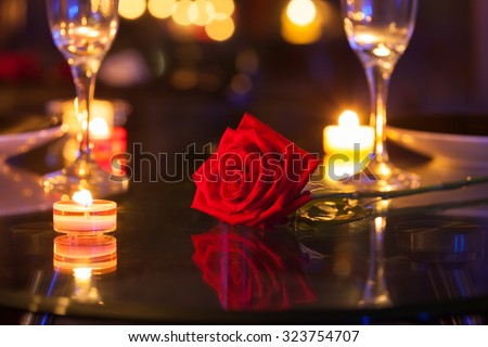 Romantic dinning setting. - stock photo