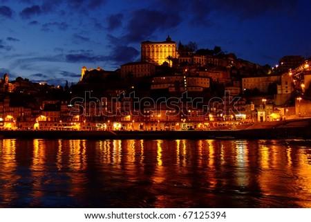 Romantic evening in old Porto, Portugal - stock photo