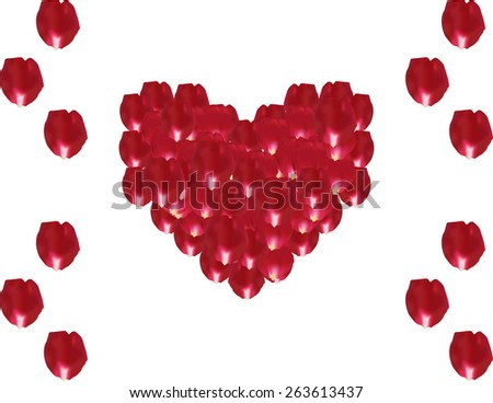 Romantic Heart shape made out of rose petals isolated on white - stock photo