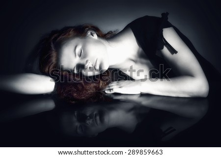 Romantic Image of a Woman with Closed Eyes Dreaming - stock photo
