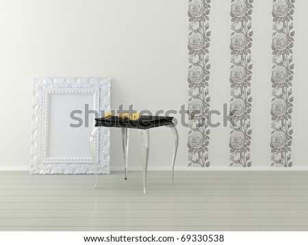 Romantic interior design of white room, 3d render - stock photo