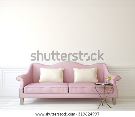 Romantic interior with pink couch near empty white wall. 3d render. - stock photo