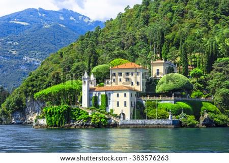 romantic Lago di Como, villa del Balbianello - stock photo