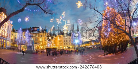 Romantic Ljubljana's city center decorated for Christmas holidays. Preseren's square, Ljubljana, Slovenia, Europe.  - stock photo