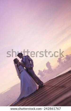 Romantic lover pre wedding scene - stock photo