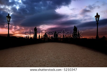 Romantic Medieval Charles Bridge in Prague with stunning Sunrise - stock photo