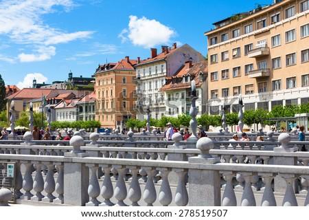 Romantic medieval Ljubljana's city center, capital of Slovenia, Europe. - stock photo