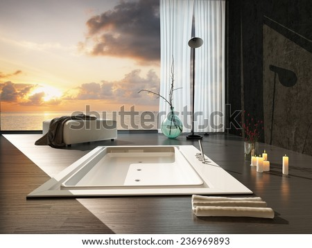 Romantic modern bathroom interior at sunset with a view of a colorful orange sky through a large view window overlooking a sunken bathtub and burning candles. 3D Rendering.  - stock photo