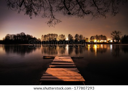 Romantic night at the lake - stock photo