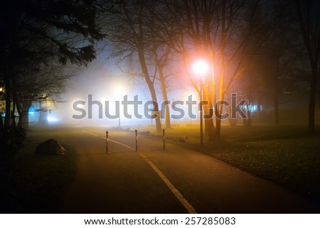 Romantic night walk in a foggy city park with street lights (diffused, toned). Travel concept.  - stock photo