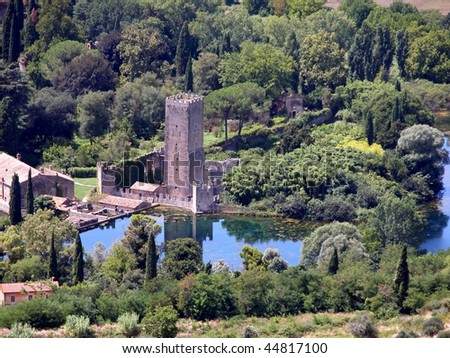 Romantic oasis of Gardino di Ninfa - stock photo