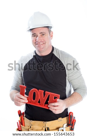 Romantic people in love shot in studio isolated on a white background - stock photo