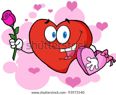 Romantic Red Heart Man Carrying Chocolates And A Rose .Vector version is also available - stock photo
