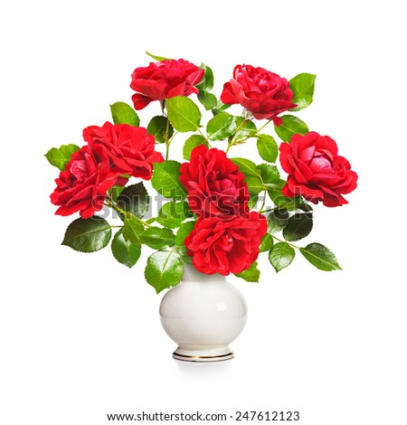 Romantic red roses bouquet in retro vase isolated on white background. Valentine theme - stock photo