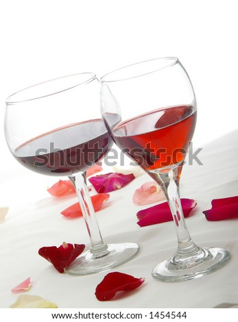 Romantic red wines at an angle. - stock photo